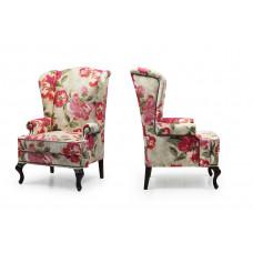 Английское кресло с ушами Coral молдинг бронза